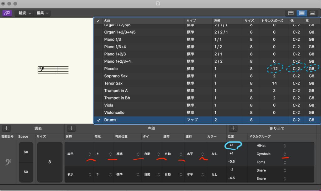 Logic Pro Xの「譜表スタイル」ウィンドウで値を変更するには?